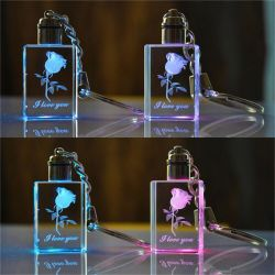 Jyg Unique Design Christmasgift K9 Crystal Glass LED Key Chain