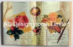 Antique Flower Design PU Leather/MDF Wooden Book Shape Wall Art