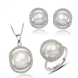 S925 Sterling Silver Jewelry with Fresh Water Pearl Set Jewellery