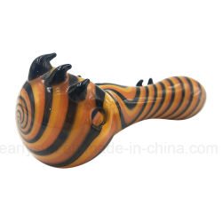 Orange Stripe Fritted Spoon for Smoke with Switchback Fangs (ES-HP-024)