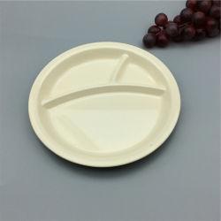 Wholesale Biodegradable Dinnerware Bamboo Fiber Round Flat Plate