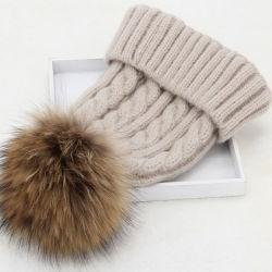 6b057048475 Factory Wholesale Ladies Knitted Winter Fur POM POM Beanie Hats
