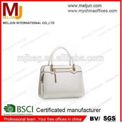 Latest White Fashion Beauty Promotional Hot Selling PU Tote Bag Handbag (MJH-150533)