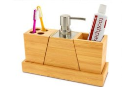Bamboo Bathroom Liquid Soap Dispenser/Toothbrush Holder Set