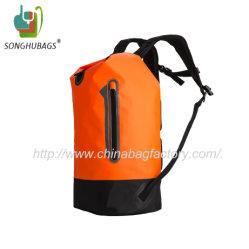 Custom Orange Color Sport Roll Waterproof Dry Backpack Bag with Shoulder Straps