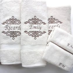 Boutique Luxury 100% Cotton Gift Towel Set with Embroidered Logo