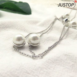 Fashion Women Costume Jewelry White Fresh Water Pearl Chain Necklace with CZ Stone