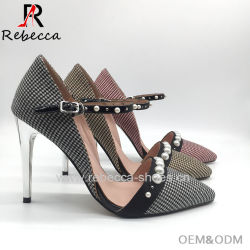 4117ab92a8f317 Lady Sandals with Buckle Strap Handmade Cloth with Rivet Stilettos Shoes  Wholesale