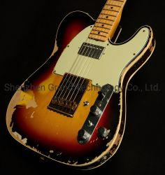 Custom Limited Edition Relic Tele Electric Guitar Aged in Sunburst Tl Electric Guitar Maple Fingerboard Mahogany Body Neck