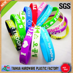 Customized Colourful Silicone Wristband and Bracelet with Color Filled/ Logo Print/ Factory Wholesale