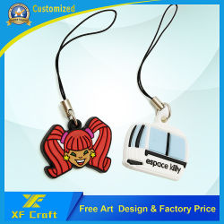 Professional Customized High Quality 3D PVC Rubber Mobile Phone Straps for Cute Animal at Factory Price (XF-MS01)