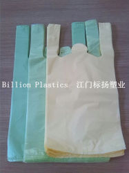 Colorful HDPE Handle T-Shirt Plastic Vest Carrier Gusset Poly Shopping Wholesale Store Grocery Bag