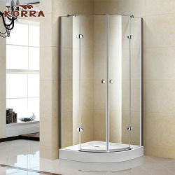 Quandrant Frameless Shower Enclosure with Two Hinged Doors