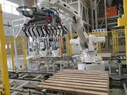 Automatic ABB Robot Stacking Palletizer Machine with Arm Loader
