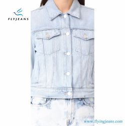 Shrunken Jeans Jackets Women Super-Soft Denim Short Coat with Fold-Over Collar