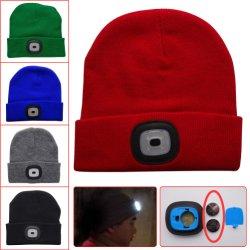 Wholesale Custom Outdoor Sport Winter Knitting Warm LED Flash Beanie Hats