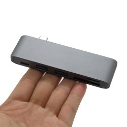 Type-C USB 3.0 5 in 1 Combo Hub for MacBook Aluminum Multi-Port Adapter Charging Data Sync Card Reader for MacBook PRO