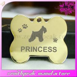 Metal Engraved Logo with Enamel Bone Shape Pet Dog Tag