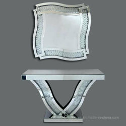 Modern Crystal Silver Floating Mirror Furniture With V Shape Console Table