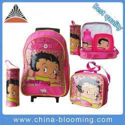 c4f0edc5cf22 Girl Student Kid Wheeled Trolley Pencil Case Lunch School Bag