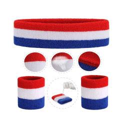Hot Selling Colorful Terry Sports Headbands Wristband Set, Accept Custom Logo Towel Wrist Sweatbands Striped Sweat Band Headband Set for Yoga Gym Athlete