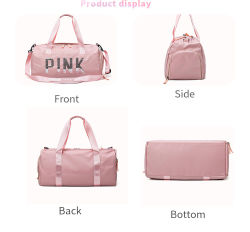 Trendy Custom Logo Outdoor Fashion Cute Girls Yoga Dance Shoulder Tote Pink Sport Travel Duffel Bag