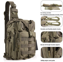 Water-Resistant Portable Hunting Backpack Fishing Tackle Storage Bag Outdoor Gear Backpack Cross Body Sling Shoulder Bag Sport Camping Hiking Tactical Travel
