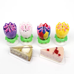 Colorful Decorative Happy Birthday Lotus Flower Musical Candles