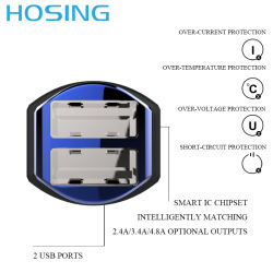 3.4A USB Car Charger for All Smart Phones