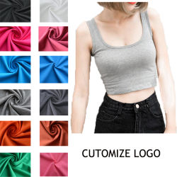 813ccc11dd924 Bulk Wholesale Printing 100% Cotton Plain Crop Top Women Black Workout Gym  Tank Top with