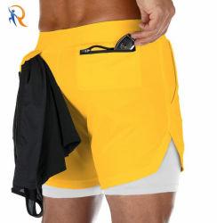Custom Quick-Drying Shorts Men Fitness Sports Training Running Short Pants Men's Gym Shorts Two-in-One Ultra Shorts Men Black Rtm-422