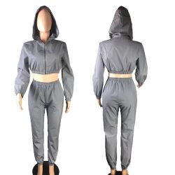 Cheapest Reflective Fall Autumn Hoodie Long Sleeve with Elastic Band Gym Custom Ladies Two Piece Sport Women Sets