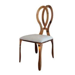 Golden Frame Back Stainless Steel Rose Gold Infiniti Wedding Dining Chair