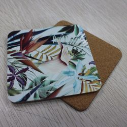 Custom MDF Wooden Cup Coaster, with Cork Backing