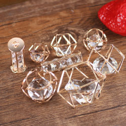 Gold Plated Round Brass Filigree Diamond Hollow Jewelry Pendant Accessories