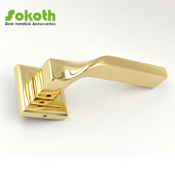 Big Size Gold Plated Zinc Alloy Door Lever Handle with Square Rose