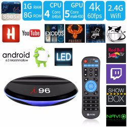 Hot Sale Home Theater I96 Android 7.1.2 Smart TV Box S905X Quad Core 1GB RAM/8GB ROM with 4K 1080P HD, WiFi Media Player