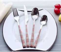Cathylin 24PCS Plastic Handle Stainless Steel Dinner Cutlery Sets