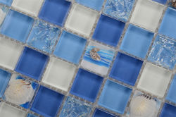 Bright Blue Color Custom Capiz Wholesale Glass Shell Mosaic Tile