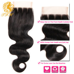 Cheap Free Shipping Brazilian Virgin Hair Body Wave Lace Closure 4X4 Size Swiss Lace Full and Thick Free Parting Middle Parting