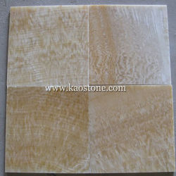 Natural Polished Yellow Onyx Marble Tile For Kitchen Hotel Decorations