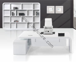 Pure Shiny White Modern Stylish Wooden Executive Office Furniture