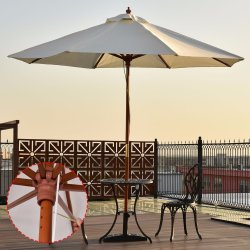 Outdoor Garden Beach Sun Shade Wood Pole Adjule Patio Umbrella