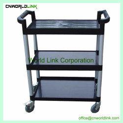 Plastic Hotel Multifunction Trolley 3 Layers Hand Service Cart