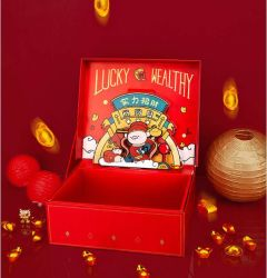 Christmas Gift Box/Cartoon Three-Dimensional Creative Rectangular Christmas Fruit Packaging Box/Luminous Christmas Eve Gift Box