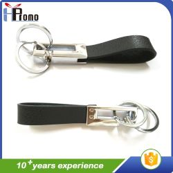 Promotional Gift Leather Key Chain with Double Rings