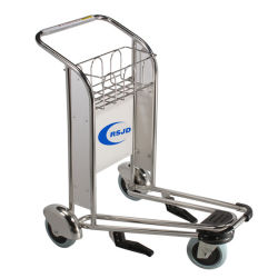 Sell Stainless Steel Aluminum 4 Wheel Airport Hand Push Transport Luggage Baggage Trolley Supplier Manufacturer with Brake for Sale