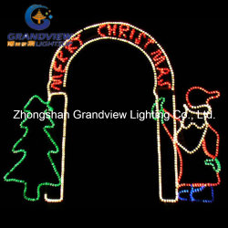 250cm wide led santa christmas tree and arch door motif rope lights