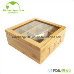Bamboo Box Tea Bag Storage Box With Acrylic Cover