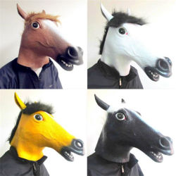 Horse Head Mask Latex Cosplay Animal Halloween Party Costume Mask Theater Prop